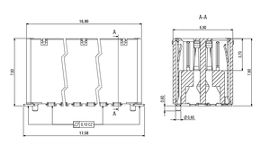 Dimensions Zero8 socket straight shielded 32 pins